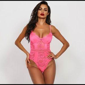 Neon Pink Lace Bodysuit Medium